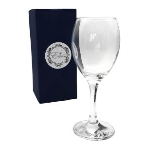 Curved Wine Glass with EnF Engraving Gift Box