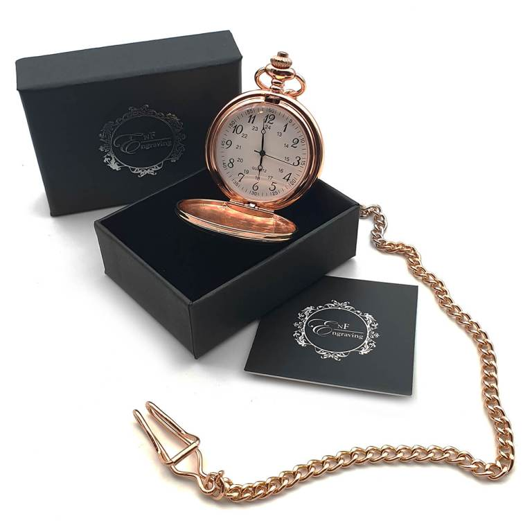 Rose Gold Pocket Watch with EnF Engraving Gift Box
