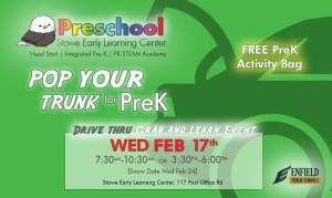 Stowe Early Learning Center's Pop Your Trunk for PreK Grab & Learn Information Event @ Stowe Early Learning Center