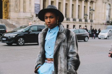 LOOK XXIII: Before Chanel FW17 show at Grand Palais. Baby Blue ensemble and a fur coat
