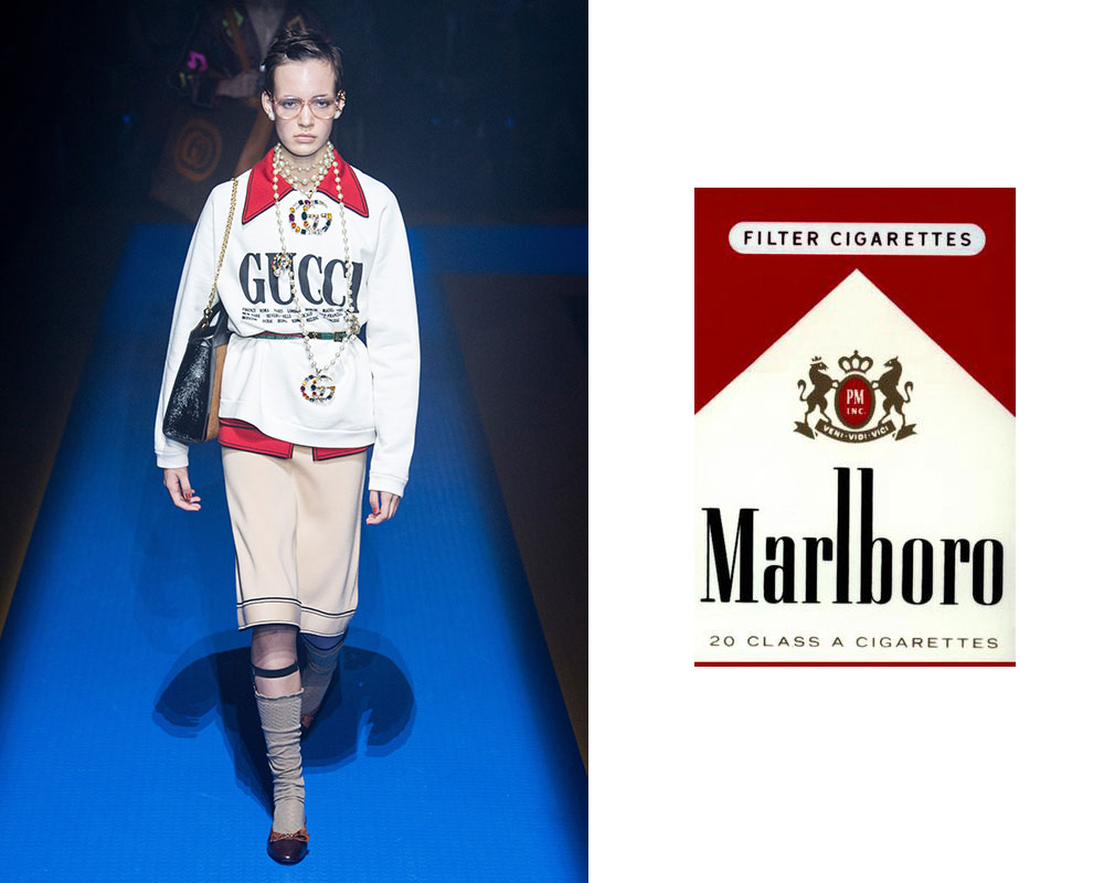 Gucci spring/summer 2018, inpired by a pack of cigarettes