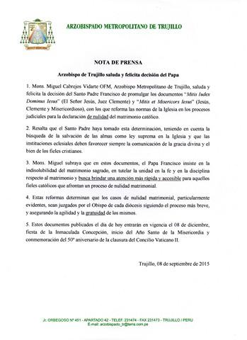 NOTA DE PRENSA. 08-09-15