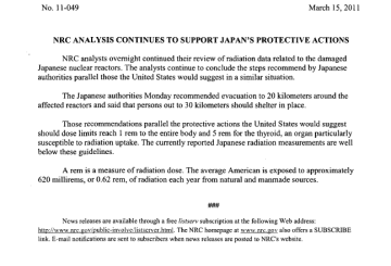 NRC ANALYSIS CONTINUES TO SUPPORT JAPAN'S PROTECTIVE ACTIONS