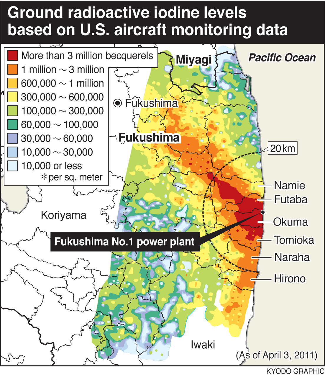 New Map Of Radioactive Iodine Released From Fukushima Daiichi - Us nuclear plant meltdown map