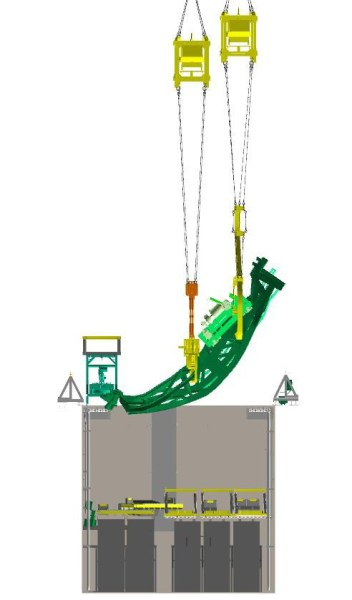 The fuel handling machine will be removed  at the same angle it is resting in the spent fuel pool.