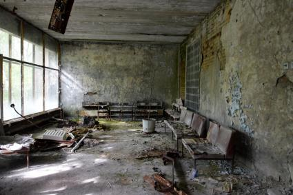 The waiting room in the Pripyat Hospital.