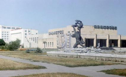 The Prometheus statue installed outside of the Prometheus movie cinema in Pripyat. After the accident the statue would be decontaminated, transported to the nuclear power plant and installed in front of the Administration Building.
