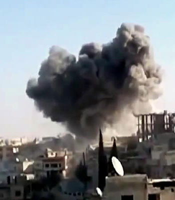 Bombs, air strikes rattle Syria