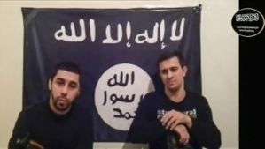 Men claiming to be from an Islamist militant group speak, in this still image taken from video footage posted on the Internet on January 20, 2014, claiming responsibility for the December 2013 attacks on the Russian city of Volgograd. (Reuters/Handout via Reuters Television)