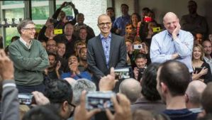 Satya Nadella, center, Microsoft's new CEO, addresses employees along with founder and technology advisor Bill Gates, left, and outgoing CEO Steve Ballmer, on the company's campus in Redmond, Washington on February 4, 2014. (Reuters/Microsoft/Handout via Reuters)