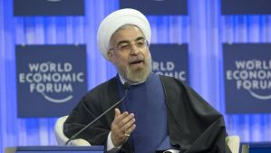 Iranian President Hassan Rouhani speaks during a session at the World Economic Forum in Davos, Switzerland on January 23. (AP/Michel Euler)