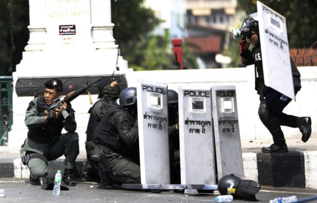 Thai police clash with protesters, leaving 4 dead