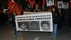 The students march for Berkin Elvan, a Turkish teenager who died Wednesday, after being in a coma for nine months after being hit on the head by a tear gas canister fired by police during the summer's anti-government protests in Istanbul, in Ankara, Turkey, Friday, March 14, 2014. The protesters called for Prime Minister Recep Tayyip Erdogan to resign. Elvan, who turned 15 in January, was caught up in the protests on his way to a shop to buy bread. (AP Photo/Burhan Ozbilici)