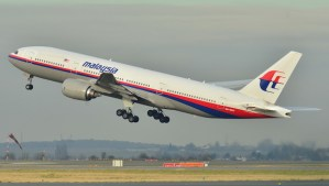 This photo taken on December 26, 2011, shows the Malaysia Airlines Boeing 777-200ER that disappeared from air traffic control screens Saturday (AP Photo/Laurent Errera)