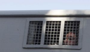 A Syrian detainee who was arrested over participation in the protests against Syrian President Bashar Al-Assad's regime is seen in a prison vehicle at the Damascus police leadership building to sign his release papers on July 11, 2012. (Reuters)