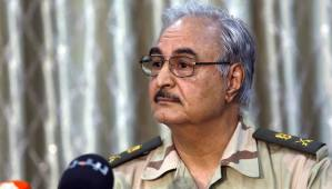 Gen. Khalifa Haftar attends a news conference at a sports club in Abyar, a small town to the east of Benghazi, in this May 17, 2014 file photo. (REUTERS/Esam Omran Al-Fetori/Files)