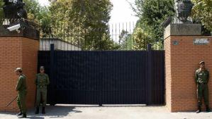 File photograph of the British embassy in Teheran, Iran, taken in September 2003. (EPA/ABEDIN TAHERKENAREH)