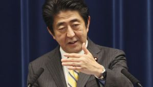 Japanese Prime Minister Shinzo Abe speaks during a press conference at his official residence in Tokyo on June 24, 2014. (AP Photo/Koji Sasahara)