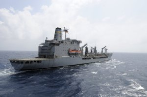 A United States Navy supply ship, U.S.N.S. Rappahannock, prepared to refuel another naval vessel in the South China Sea in March, Reuters