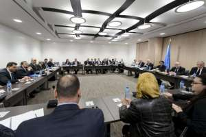 General view at the opening of Syria peace talks with Syrian government delegation and UN Syria mediator de Mistura at the United Nations in Geneva