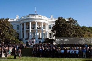 U.S. President Barack Obama joined by White House staff on the 14th anniversary of the September 11 terrorist attacks at the White House on September 11%2c 2015 in Washington%2c DC