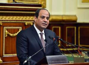 Sissi addresses parliament in Cairo on Feb. 13, AP
