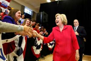 Democratic presidential candidate Hillary Clinton greets supporters at Transylvania University in Lexington, Kentucky, U.S.