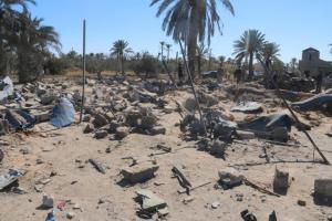 A view shows damage at the scene after an airstrike by U.S. warplanes against ISIS in Sabratha
