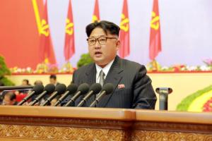 North Korean leader Kim Jong Un speaks during the first congress of the country's ruling Workers' Party in 36 years, in this photo released by North Korea's Korean Central News Agency (KCNA) in Pyongyang