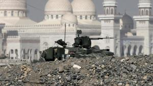 A military vehicle belonging to the presidential guards is seen outside the Presidential Palace in Sanaa