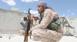 SDF member in Manbj, Syria