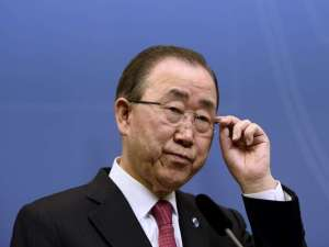 United Nations Secretary General Ban Ki-moon holds a joint news conference with Swedish Prime Minister Stefan Lofven (not pictured) at the Swedish Government headquarters Rosenbad in Stockholm, Sweden, March 30, 2016. REUTERS/Maja Suslin/TT News Agency