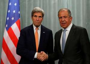 U.S. Secretary of State John Kerry L and Russian Foreign Minister Sergei Lavrov shake hands during a joint news conference following their meeting in Moscow, Russia, July 16, 2016.