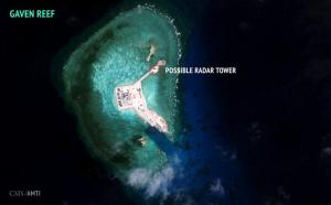 A satellite image released by the Asian Maritime Transparency Initiative at Washington's Center for Strategic and International Studies shows construction of possible radar tower facilities in the Spratly Islands in the disputed South China Sea in this image released on February 23, 2016. Mandatory credit CSIS Asia Maritime Transparency Initiative/DigitalGlobe/Handout via Reuters/File Photo