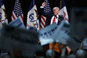 Donald Trump at a rally Aug. 5 in Des Moines. (Evan Vucci/AP)