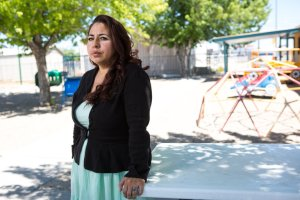 Carmella Salinas at the Family Learning Center in Española, N.M., where she has taught early childhood education for 14 years. She earns $12.89 an hour and her week is capped at 32 hours.