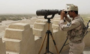 An Iranian border guard is seen at Pak-Iran border.