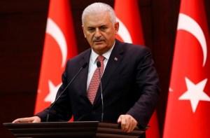 Turkey's Prime Minister Binali Yildirim addresses the media in Ankara.