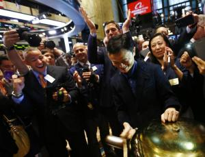 "Alibaba Group Holding Ltd founder Jack Ma rings a ceremonial bell to start trading during his company's initial public offering (IPO) under the ticker ""BABA"" at the New York Stock Exchange in New York September 19, 2014. REUTERS/Brendan McDermid"
