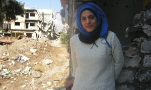 Marwa al-Sabouni in Homs, Syria, in March. She and her family were largely confined to their apartment during two years of heavy fighting in the city.