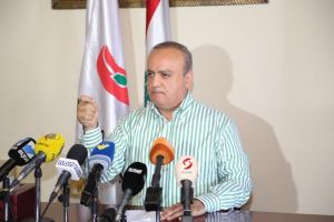 Wahhab speaks in a press conference last year/National News Agency NNA