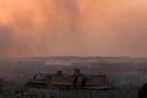 Smoke rises after airstrikes on Aleppo's Castello road, Syria