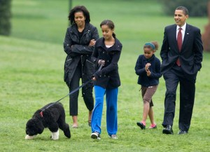 U.S. President Barack Obama presents the first family's new dog at the White House
