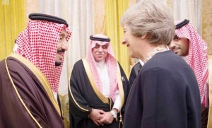 Custodian of the Two Holy Mosques King Salman with Teresa May, the Prime Minister of Britain