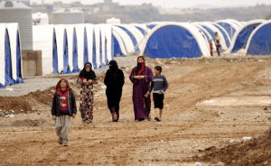 Iraqis displaced by the battle of Mosul in the newly established Khazir refugee camp, east of Mosul.