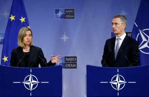 EU foreign policy chief Mogherini and NATO Secretary-General Stoltenberg address a joint news conference during a NATO foreign ministers meeting in Brussels
