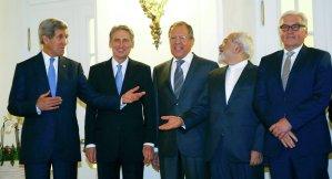 Ministers: Sergei Lavrov, John Kerry, Mohammad Javad Zarif and Frank-Walter Steinmeier. Reuters/ Leonhard Foeger