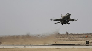 An Israeli F-16 fighter jet takes off at Ramon air base