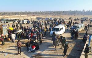 Evacuees from a rebel-held area of Aleppo arrive at insurgent-held al-Rashideen, Syria December 19, 2016. REUTERS/Ammar Abdullah