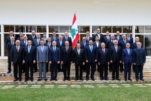 The newly formed Lebanese Government Ministers posing for a photo at the Lebanon presidential palace of Baabda east of Beirut with President Michel Aoun.
